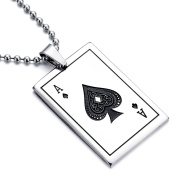 MENDINO Mens Stainless Steel Pendant Necklace Silver Ace of Spades Poker Card Punk Rock with 60cm Chain