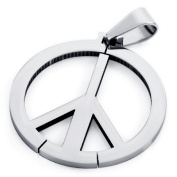 Peace Symbol Silver Colour Stainless Steel Pendant Necklaces 60cm Chain with 1X Velvet Bag