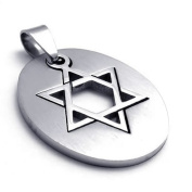 MENDINO Thin Edge Lucky Star of David Silver Stainless Steel Pendant Necklace 60cm Chain with 1X Velvet Bag