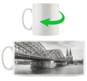 black white bridge, Motif cup in white ceramic 300ml, Great gift idea for any occasion. Your new favourite mug for coffee, tea and hot drinks.