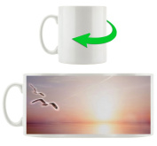 Gulls over the sea, Motif cup in white ceramic 300ml, Great gift idea for any occasion. Your new favourite mug for coffee, tea and hot drinks.