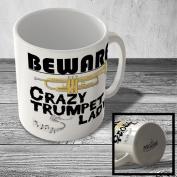 MUG_CZY_024 BEWARE - Crazy Trumpet Lady - Mug