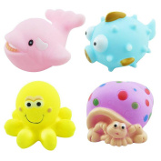 Baby Bath Squeaky Toys Corlorful Rubber Marine Animals Pack of 4