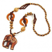 SwirlColor Fashion Bohemian Vintage Ethnic Wood Elephant Pendant Long Sweater Chain Necklaces & Pendants for Women