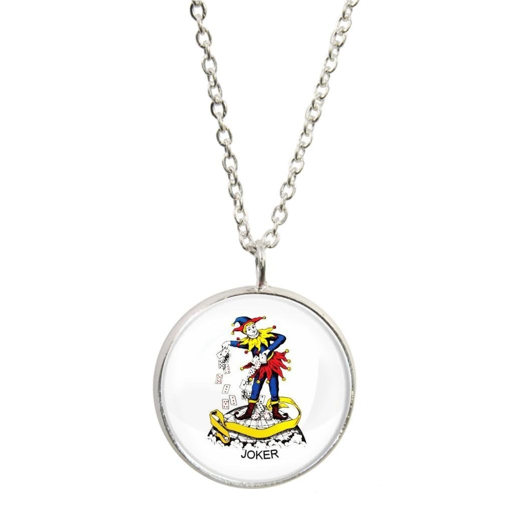 Joker Playing Card Design Silver Plated Pendant Necklace In Gift Box