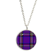 Purple Tartan Design Silver Plated Pendant & Necklace in Gift Box