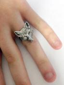 A72 Fox Head 2 English Pewter Ladies Ring, Adjustable Handmade in Sheffield