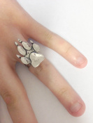 A67 Paw Print English Pewter Ladies Ring, Adjustable Handmade in Sheffield