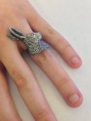 A43 Hares Head English Pewter Ladies Ring, Adjustable Handmade in Sheffield