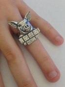 A33 Pig English Pewter Ladies Ring, Adjustable Handmade in Sheffield