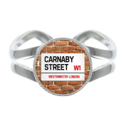 Carnaby St Sign Silver Plated Adjustable Ring in Gift Box