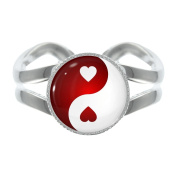 Love Heart Yin Yang Silver Plated Adjustable Ring in Gift Box
