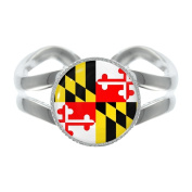 Maryland US State Flag Silver Plated Adjustable Ring in Gift Box