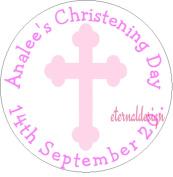 Eternal Design 12 x 63mm Glossy Christening Day White Stickers CDCS 7