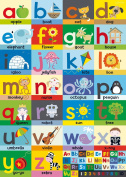 Happy Spaces (50 x 70 x 2 cm) Kids Wall Art Canvas Print Alphabet Poster by Laila Hills
