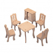 Dinning Room Set DIY 3D Jigsaw Wooden Model Construction Kit Toy Puzzles