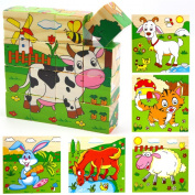 Holzsammlung® 16 Pcs Wooden Cube Block Jigsaw Puzzles - Animal Pattern Blocks Puzzle for Child 3 Year and Up -- Perfect Christmas Gift for Your Kids