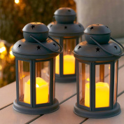 Set of 3 Grey Battery Operated LED Candle Lanterns for Indoor Outdoor Use by Lights4fun