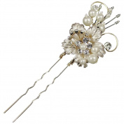 Grace Pearl & Leaf Wedding Hair Pin (Gold)
