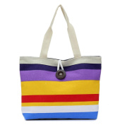 Tonsee® Lady Coloured stripes Shopping Handbag Shoulder Canvas Shopping Bag Tote Purse