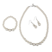Wedding Bridal Women's Faux Pearl Necklace Bracelet Earrings Jewellery Set