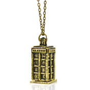 The Doctor Bronze Tone Tardis DR WHO Inspired Police Box Charm Pendant Necklace