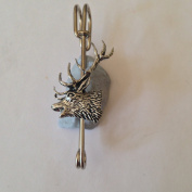 "A53 Red Stag Head kilt pin Scarf or Brooch pin pewter emblem 3"" 7.5 cm handmade in sheffield"