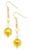 Amanti Venezia Yellow Freshwater Pearl, Clear Crystal and Gold Genuine Murano Drop Earrings of 5.3cm