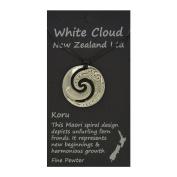 Handmade New Zealand Koru Wave Pewter Pendant on Waxed Cord