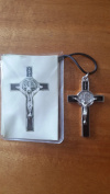 5.1cm BLACK Inlay St SAINT BENEDICT CRUCIFIX CROSS Medal Necklace Pendant 1222