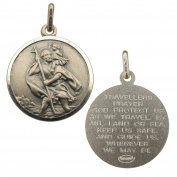 Antique Finish Sterling Silver 24mm Round St Christopher With Travellers Prayer Medal Pendant In Gift Box