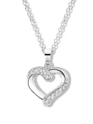 Sterling Silver and Cubic Zirconia Heart Pendant on 40.5cm Chain