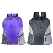 Damero Lightweight Drawstring Backpack Gym Sack for Adults & Children with Straps, Pockets, Reflective Tapes. Perfect for Sports, Beach Holidays, Swimming