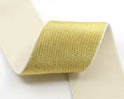 iCraft 5.1cm Wide By 3-yard Soft Gold and Silver Glitter Waistband Elastic Band, Gold Glitter in White 21060