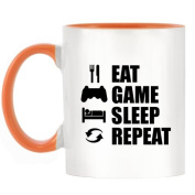 Eat Sleep Game Repeat (PS) Design Two-Tone Mug with Orange Handle & Inner