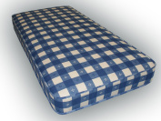 0.9m single budget mattress Blue Checked material 90cm x 190cm, 0.9m x 6ft3 fast delivery