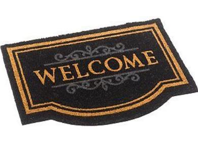 Large Door Mat Natural Or Black Coir Welcome Floor Entrance Indoor Outdoor Front Doormat (Black)