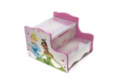 Disney Princess Childrens Girls Wooden Step Stool Storage Playroom Bedroom Furniture Toys Kids - Pink