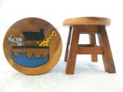 Childs Childrens Wooden Stool - Noah's Ark