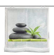 Home Fashion Carozo 69898-768 Roman Blind with Digital Print - Voile Fabric - With Window Hooks and Accessories - 140 x 100 cm - Green