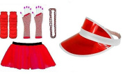 (RB Fashions Clothing)1980's Neon Five Piece's Adult Fancy Dress Tutu Set Tutu,Sun Visor ,Fishnet Gloves,Legwarmers,Beads Hen and Stag Night Party