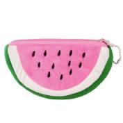 Gleader Watermelon Shape Pink Green Plush Zip up Cards Cash Holder Wallet Purse