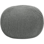 Urban Shop Round Knit Pouffe - Grey - Home Decor - Living or Bedroom Furniture - Contemporary Style - Polyester - Can Be Used As Seating, a Footrest or a Fun Accent Piece by Urban Shop