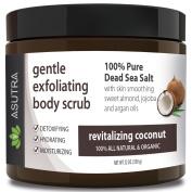 "Best ORGANIC Exfoliating Body Scrub - ""revitalising COCONUT"" - 100% Pure Dead Sea Salt Scrub / Ultra Hydrating & Moisturising with SKIN SMOOTHING Jojoba, Sweet Almond & Argan Oils - 350ml.."