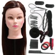 Neverland Beauty 60cm 30% Real Hair Training Head Hairdressing Mannequin Head + Braid Set