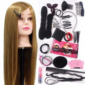 Neverland Beauty 60cm 50% Real Hair Training Head Hairdressing Mannequin Head + Braid Set