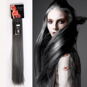 Fashion Sexy Two Tone Long straight Clip in Hair Extensions Pieces Dark brown to Grey 60cm ombre dip dye