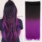 Fashion Sexy Two Tone Long straight Clip in Hair Extensions Pieces Dark brown to Dark Purple 60cm girls fashion choice