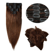 Double Weft 100% Remy Human Hair Clip in Extensions Grade 7A Quality 36cm - 60cm Full Head Thick Long Soft Silky Straight 8pcs 18clips for Women Fashion