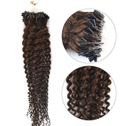50cm Indian 7A Remy Loop Micro Ring Beads Tipped Curly Human Hair Extensions 100Strands